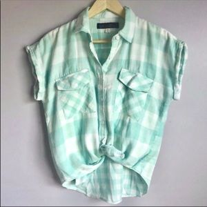 New Mint Plaid Gingham Button Tie Front Shirt Top